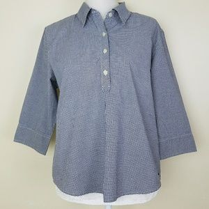 Abercrombie & Fitch 3/4 Sleeve Gingham Shirt Sz L